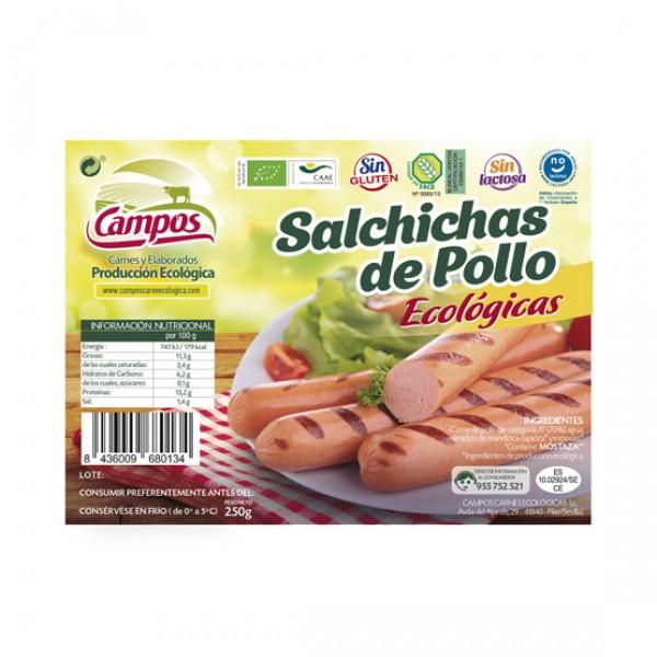 Salchichas frankfurt de pollo de producción ecológica ( vacío 0.25 kg.)