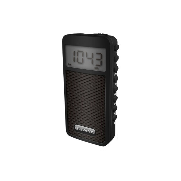 Brigmton bt126 negro radio am/fm portátil con altavoz 100 presintonias temporizador de apagado