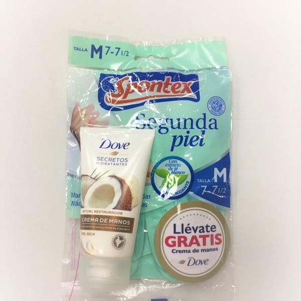Spontex guantes segunda piel  talla M + Dove crema de manos 75 ml gratis