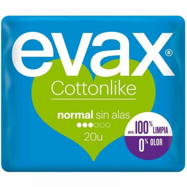 Evax compresas cottonlike normal sin alas 20 uds