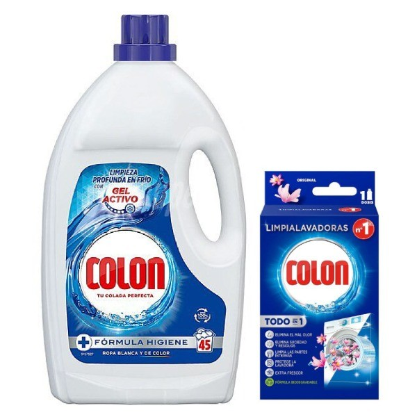 Colon detergente Gel Activo 45 dosis + Colon limpialavadoras 1ud